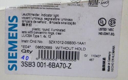 10x siemens 3sb3001-6ba70-z leuchtmelder claramente indicator light sin soporte//10stk