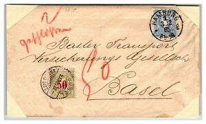 Germany-1885-Cover-to-Basel-50c-Swiss-Due-Cut-Corners-Z13939