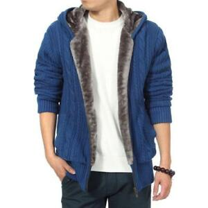 Men-Thicken-Fur-Lined-Hooded-Jacket-Winter-Knitted-Coat-Cardigan-Sweater-New