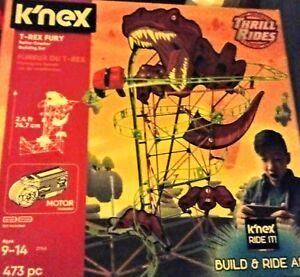 K/'nex Thrill Rides T-Rex Fury Roller Coaster Building Set 473pcs New Sealed 2018