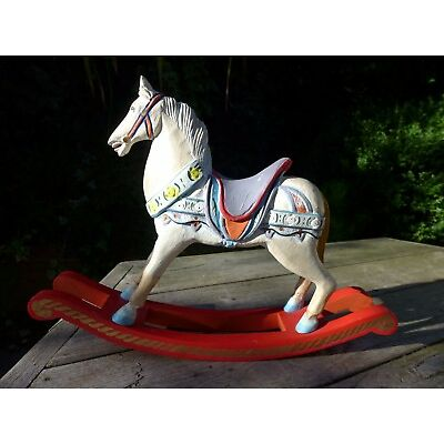 Vintage wooden rocking horse, shabby, beautiful gift, high 28 cm