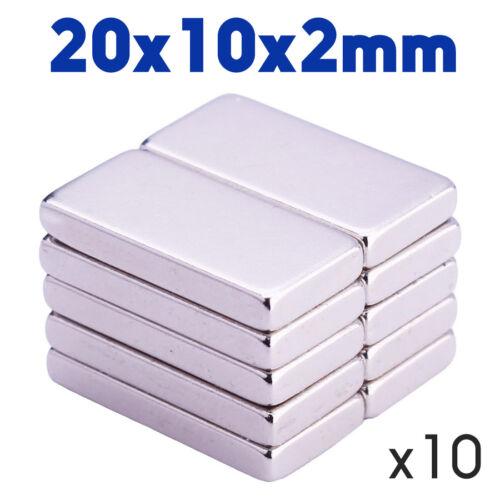 Lot de 10 Aimant Neodyme Plat Puissant Magnet 20x10x2mm NdFeB pour frigo,tableau