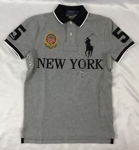 5 Men New York Ralph Gray Slim Size Polo About Number Shirt Xl Lauren Fit Details Custom iuOkTwZPX