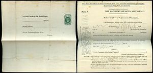 GB QV STATIONERY 1872 VACCINATION CERTIFICATE