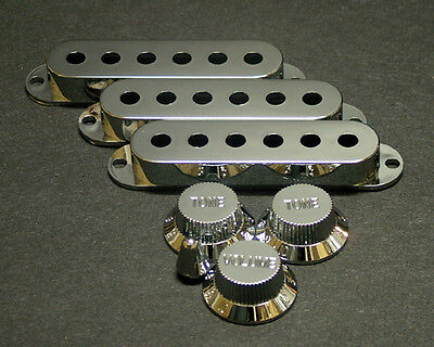 Dragonfire Strat Covers and Knobs Set, Chrome-3 Covers 1 Vol, 2 tones,Switch Tip