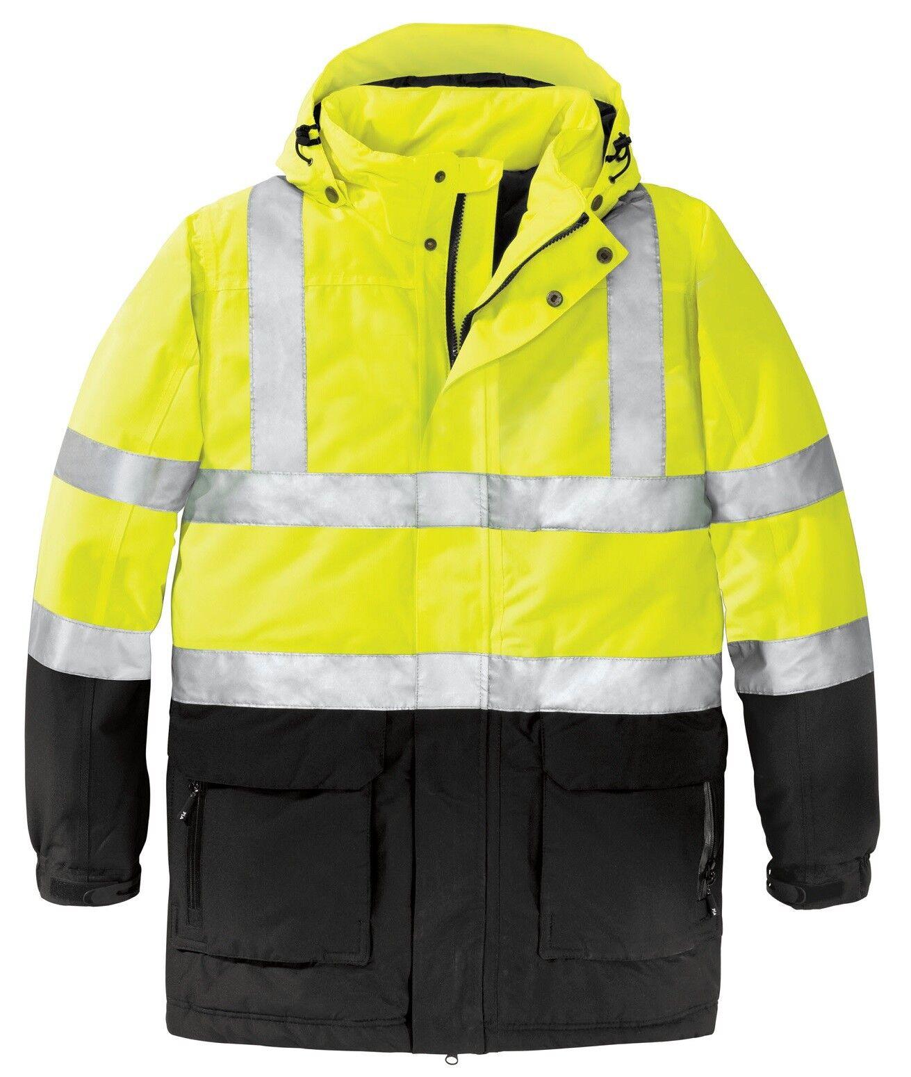 MEN'S CLASS 3, SAFETY HEAVYWEIGHT COAT, REFLECTIVE, WATERPROOF, HOOD, XL-4XL
