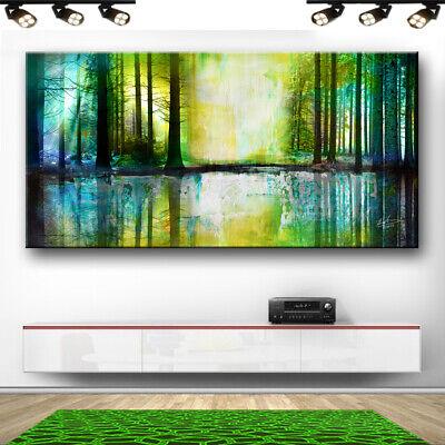 Landschaft Wald Bäume Hirsch Abstraktes Bilder Leinwand Wandbilder XXXL 2999A