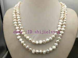 """natural long 8-9mm baroque multicolor freshwater pearl necklace 45/"""" A pink white"""