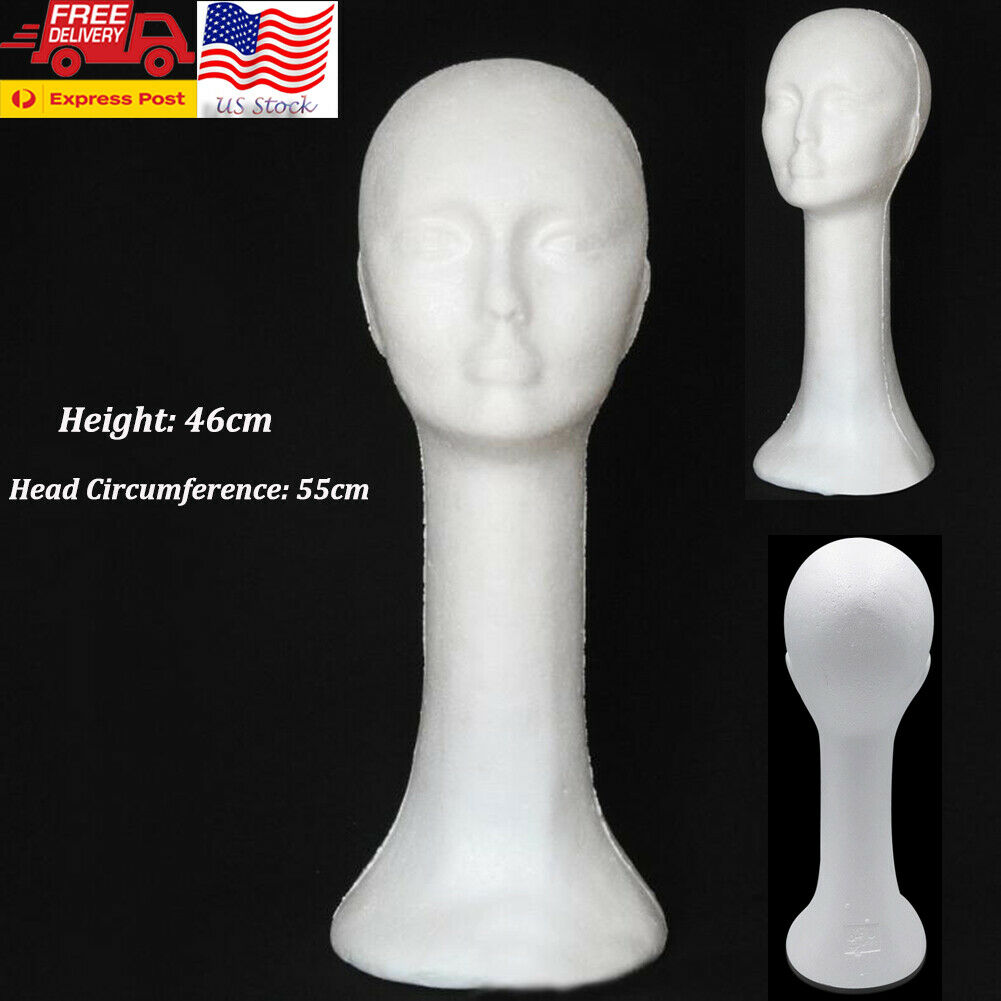 Long Neck Female Head Styrofoam Tan; 4-Pack