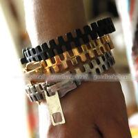 Gothic Punk Rock Fashion Unique Zipper Zip Shape Metal Bangle Bracelet Findings