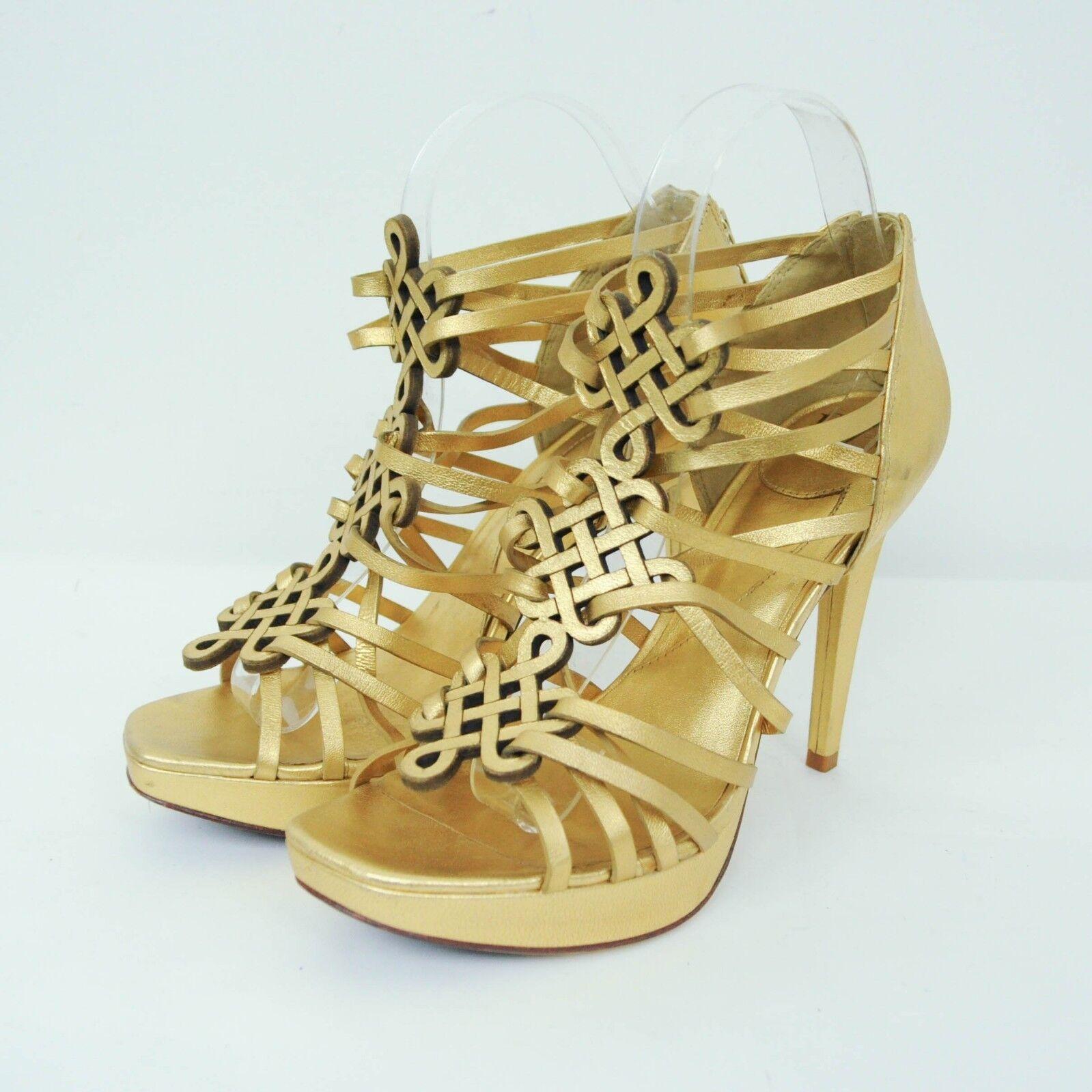 Diane Von Furstenberg Platform Heels 7.5 gold Strappy Stilettos Sandals Leather