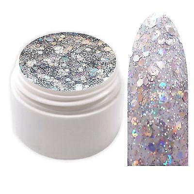 Exclusive Glamour Glitter Farbgel Silber UV Gel 5ml Made in Germany EG-534