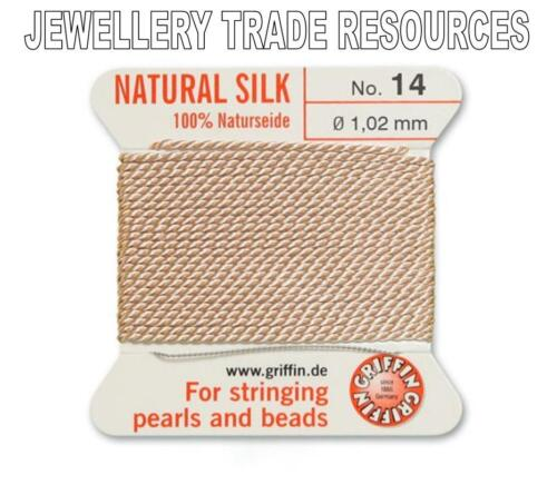 LIGHT PINK SILK STRING THREAD 1.02mm STRINGING PEARLS /& BEADS GRIFFIN SIZE 14