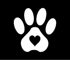 Pet Paw Print With Heart Dog Cat Vinyl Decal Car Window