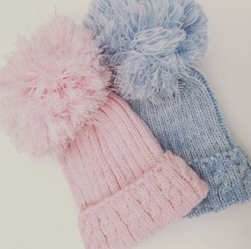 Girl Boy Baby Cable Knit Pom Pom Hats Pink /& Blue Newborn 12 Months