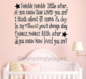 Image is loading Twinkle-Little-Star-Vinyl-Wall-Decals-Sticker-Words-  sc 1 st  eBay & Twinkle Little Star Vinyl Wall Decals Sticker Words Art Baby Nursery ...