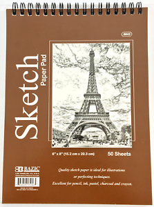 6-034-x-8-034-Spiral-Premium-Quality-Sketch-Book-Drawing-Paper-Pad-50-Sheets