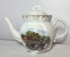 Pretty Vintage Victorian Dainty Teapot Bridge Scene Old 1900 1910