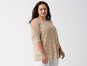 Lane-Bryant-Metallic-Cold-Shoulder-Sweater-Top-Gold-Oatmeal-Plus-26-28-4X-NWT
