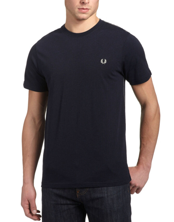 Fred Perry Men's Stitch T-Shirt In Navy Marl Size  L