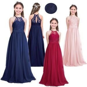 aedcacde95 Lace   Chiffon Girls Party Dress Jnr Bridesmaid Flower Girl Dress ...