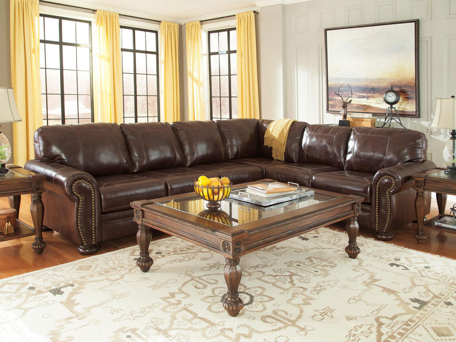 Old World Formal Living Room Brown Leather Large Sofa