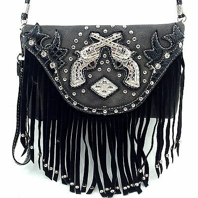Messenger Bag Feature Double Pistol Fringe Hipster Crossbody Purse Wallet Black