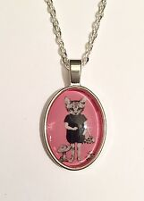 GATTO nel vestito nostalgia CATENA glascabochon culto ROSA SWEET CAT OVALE Kitty