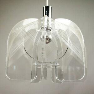 Pendel-Leuchte-Paul-Secon-Sompex-Acryl-Nylon-Haenge-Lampe-60er-70er-Jahre-VIntage