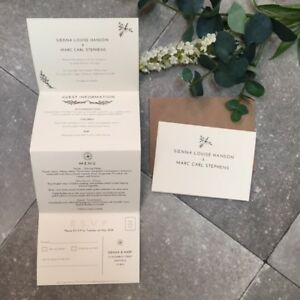 Details About 1 Rustic Concertina Fold Sienna Wedding Invitation Card Sample
