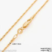 Chaines Plaqué Or Jaune Maille Forçat Ou Grain De Riz Taille 6051 Cm(unisexe)