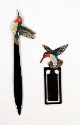 Hand Painted Hummingbird Bird Mail Letter Opener Bookmark set of 2