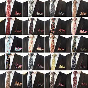 Men-s-Classic-Cotton-Paisley-Flower-Necktie-Pocket-Square-Tie-Handkerchief-Set