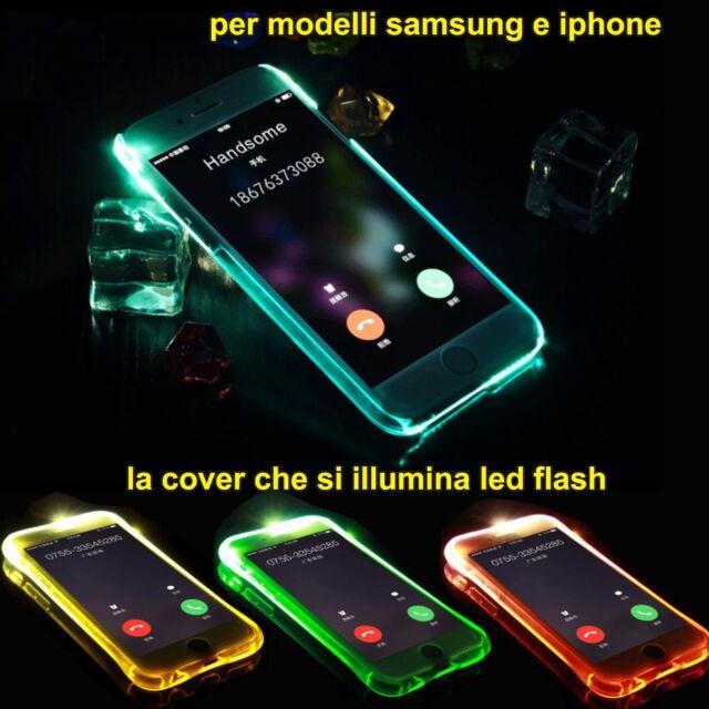 Funda Cover brillante led flash para Samsung Galaxy S6 S7 S8 Plus IPhone 6 7 8