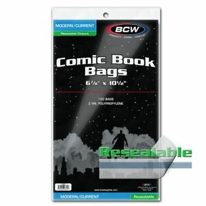 100 BCW Current / Modern RESEALABLE Comic Bags Sleeves Protectors