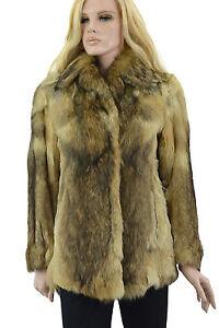 1-950-Marron-Beige-Creme-Smokey-Fox-Fur-Coat-Veste-Taille-S