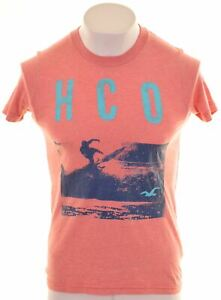 Hollister-Para-Hombre-Grafico-T-Shirt-Top-Algodon-Rosa-Pequena-X001