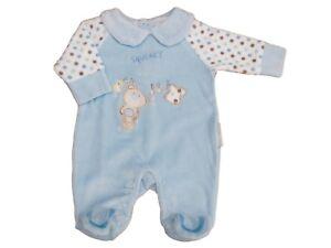 8647317c6 BNWT Baby girls or boys soft velour squeaky clean sleep suit NB 0-3 ...