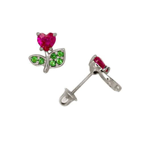Heart Flower Ruby /& Emerald Child Stud Earrings Screw Back 14K White Gold