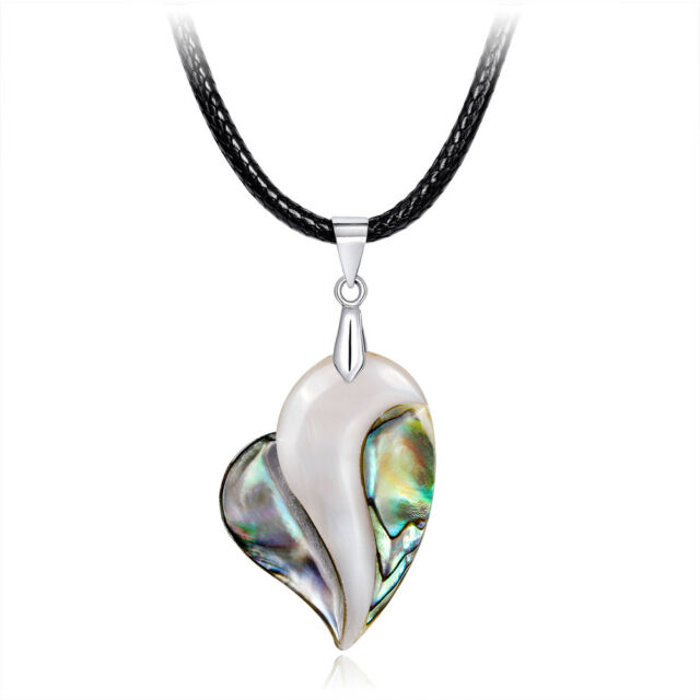 Fashion Heart Natural Abalone Shell Pendant Necklace Sweater Rope Chain Jewelry