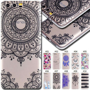 For-Huawei-Honor-9-Clear-Soft-Case-Cover-TPU-Pattern-Silicone-Skin-Rubber-Back