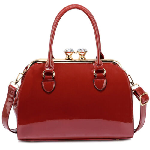 Ladies Patent Satchel Bags With Metal Frame Medium Faux Leather Handbags