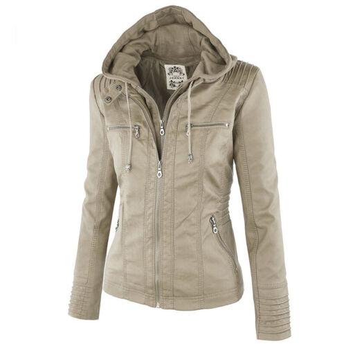 Women Winter Long Leather Clothing Jacket Zipper Stitching Windbreaker Coat