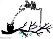 Pendentif hibou sur sa branche en acrylique noire haute qualité owl necklace