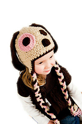 Handmade Girls Baby Newborn Infant Crochet Knit Puppy Dog Photography Props Hat