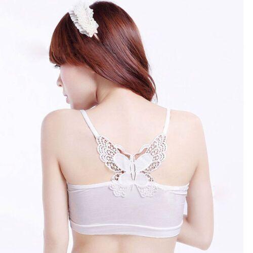 Women Strapless Bandeau Lace Butterfly Tube Top Bra