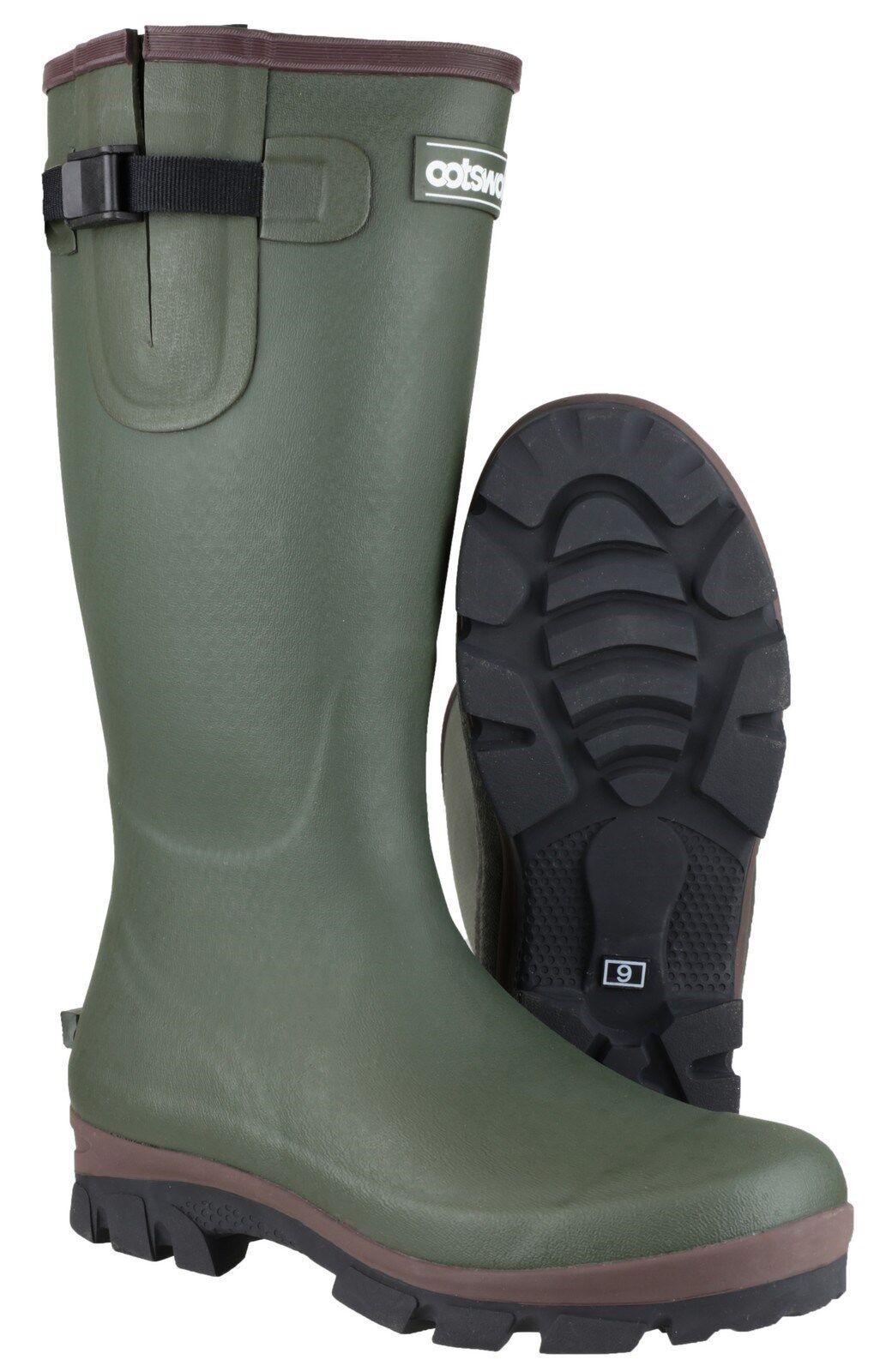 Cotswold Grange Neoprene Boots Mens Green Buckle Wellingtons Wellies UK6-12
