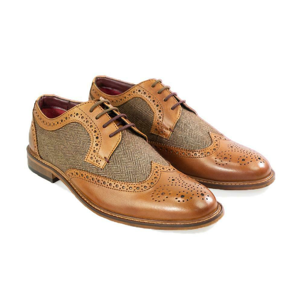 Mens Coltrane Peaky Blinders Shoe Leather Brogue Style Col Tan (Sizes 7-12)