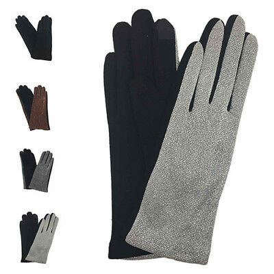 Women Winter Warm Fashion Wrist Gloves Thermal Lined Glitters Touch Screen UK