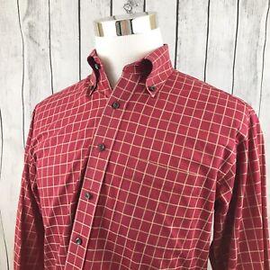 Scott-Barber-Mens-Red-Windowpane-Long-Sleeve-Button-Down-Shirt-Size-M